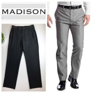 Madison Charcoal Flat Front Slim Fit Trouser Pant